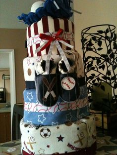 Baseball Diaper Cake! https://www.facebook.com/michelecreations