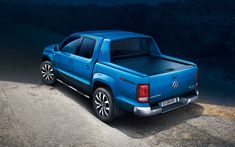 Download wallpapers Volkswagen Amarok, 2017, 4k, pickup, SUV, blue Amarok, new cars, German cars, Volkswagen