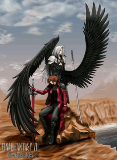 Genesis & Sephiroth. Just 'cause Angeal has a sort-of second wing, he gets none of the love. Poor guy. They look like they had an argument. Again. Or maybe a battle... again, again.