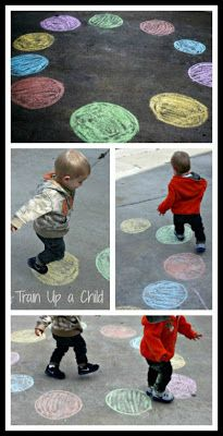 Toddler Color Hop! A gross motor activity for toddlers to teach color recognition. The set up takes less than five minutes. Toddlers learn best through play and movement, and this simple game is fun for toddlers and mommy alike! Could do a version like twister, too?