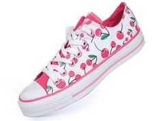 09fe4772be4 White Converse All Star Low Top With Pink Cherries Canvas Shoes