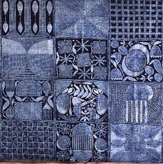 Yoruba cloth - painted with cassava starch, then let it dry. It resisted the indigo, much like wax does.