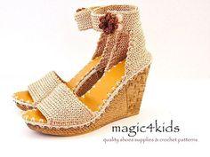 Sandalias cuñas hermosas mujeres crochet sandalias por magic4kids
