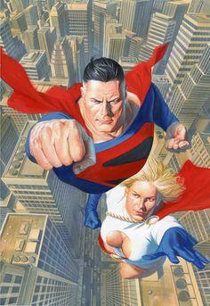 Alex Ross- Wizard-Superman Powergirl cover