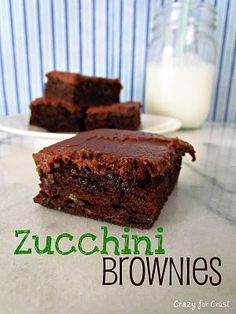 Zucchini brownies with no eggs!  Perfect! - made these and mine really came out more like chocolate cake.  but still good cake!  :)  don't follow the icing recipe though - totally wrong.