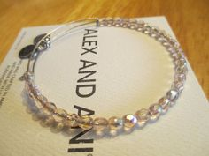 Alex and Ani  pink Shimmering Sea Bead R SILVER Bangle Bracelet  #AlexandAni #Beaded