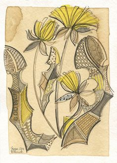 Susan Black Design collage, coffee stained page, botanical, yellow, limited palette, floral, greeting card design, Etsy shop, drawing, art licensing http://susanblackdesign.com