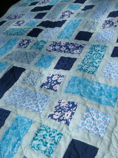 Hand-quilted Hidden Pond Baby Crib Quilt Play Quilt or Throw by Somewhen