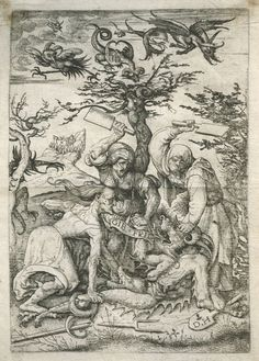 Three Witches beating a Devil on the ground. Daniel Hopfer, early 16th century.