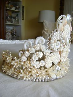 Crown Antique MOP Seashells Wax Flowers--- Fit for the Queen of Mermaids! Seashell Crown, Seashell Art, Seashell Crafts, Mermaid Crafts, Bridal Crown, Bridal Tiara, Shell Crowns, Mermaid Crown, Diy Crown