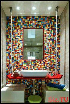 "Lego wall, ""suspended"" sink. Cool bathroom .,  #bathroom #Cool #Lego #legoroom #Sink #suspended #wall Kids Room Design, Interior Design Living Room, Lego Bedroom Decor, Deco Lego, Lego Bathroom, Lego Decorations, Cube Furniture, Game Room Bar, Lego Wall"
