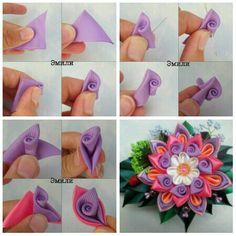 Flores Ribbon Art, Diy Ribbon, Ribbon Crafts, Fabric Ribbon, Fabric Crafts, Diy Crafts, Paper Flowers Craft, Felt Flowers, Flower Crafts