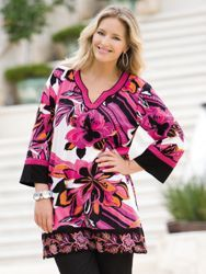 Embroidered Print Knit Tunic