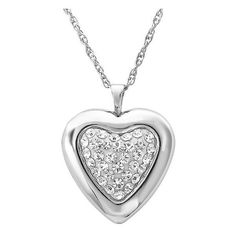 Amanda Rose Collection Sterling Silver Heart Shaped Locket... ($40) ❤ liked on Polyvore featuring jewelry, necklaces, accessories, accessories necklace, sterling silver chain necklace, sterling silver locket, heart locket, heart locket necklace and locket necklace