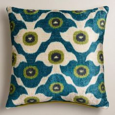 PIllow for dark blue den sectional: One of my favorite discoveries at WorldMarket.com: Cool Blue Taza Throw Pillow