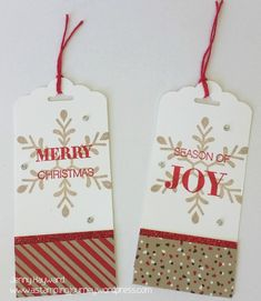 These classy Christmas tags can be made up in no time with Stampin' Up! Holly Jolly Greetings set and some scraps of Candy Cane DSP. Classy Christmas, Homemade Christmas Cards, Stampin Up Christmas, Noel Christmas, Christmas Gift Wrapping, Xmas Gifts, Xmas Cards, Holiday Cards, Gift Cards