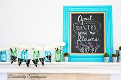 You Just Gotta LOVE This Super Cheerful Turquoise & Green Spring Mantel From ~ Domestically Speaking! At least, I Know I do! I've been looking for the blue mason jars everywhere and missed my chance to snatch them up at Wally World. And here I thought it would be easy.