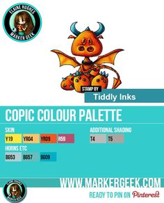 """The Daily Marker 30 Day Colouring Challenge: Day 13 Tiddly Inks """"Hello Pet"""" Dragon Copic Marker Colour Palette - www.markergeek.com"""