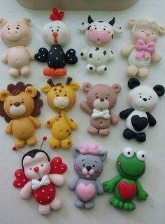 cute animals - great for decoration - cakes for childres Polymer Clay Ornaments, Cute Polymer Clay, Cute Clay, Polymer Clay Projects, Polymer Clay Creations, Felt Projects, Kids Clay, Play Clay, Fondant Animals