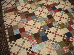 Scrappy nine patch Quilt Story: A Quilting life.the amazing 24 hour quilt! Scrappy Quilts, Easy Quilts, Flannel Quilts, Shirt Quilts, Sampler Quilts, Antique Quilts, Vintage Quilts, Primitive Quilts, Patch Quilt