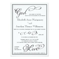 Adapted from 1 John this elegant God is Love wedding invitation is a perfect choice for the contemporary Christian wedding. See all the options and accessories on Zazzle. Christian Wedding Invitation Wording, Simple Wedding Invitations, Wedding Invitation Cards, Custom Invitations, Wedding Cards, Invites, Chic Wedding, Our Wedding, Wedding Ideas