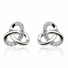 925 Sterling Silver Rhodium Plating Small Celtic Trinity Knot CZ Stone Accent High Polished Post Stud Earrings 10mm, Women Jewelry - Nickel Free