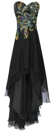 Meier Women's Strapless Peacock Embroidery Chiffon Gown. Mardi Gras ball! @Andrea / FICTILIS / FICTILIS Ruhland Huntsman I want to see you in this for some reason :)
