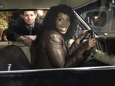 """Via Lisa Berry on Twitter Me to @JensenAckles """"Baby's like a black girls hair, you can't touch it without permission."""" & then he gave me permission #SUPERNATURAL"""