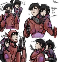 """runescratch: """"Tadashi """"please wait let's just talk this out and not fight"""" Hamada and Hiro """"just crush them already you big baby"""" Hamada"""" #ArmordashiAU #runescratch"""