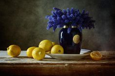 #still #life #photography • Blue Flowers And Lemons Print By Nikolay Panov