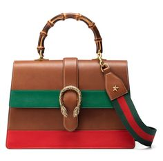 Gucci Dionysus Striped Bamboo Top-Handle Bag, Cuir/Green/Red - $3,500.00