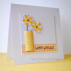 shirley-bee's stamping stuff: Polka Dots and Flowers Handmade Birthday Cards, Happy Birthday Cards, Paper Cards, Diy Cards, Beautiful Handmade Cards, Love Cards, Pretty Cards, Butterfly Cards, Card Making Inspiration
