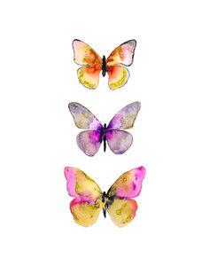 Title: Watercolor Butterflies No. 5 Watercolor Butterfly Print. Print Size…