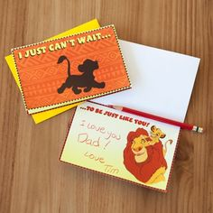 Dear old Dad will roar with delight when he receives this wild Lion King Father's Day card. | Printable Disney Father's Day gift | [ http://family.disney.com/craft/lion-king-fathers-day-card ]