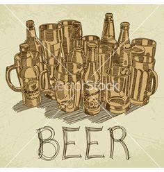 Beer background vector - by -Aqua- on VectorStock®
