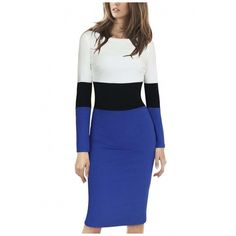 Women's Elegant Long Sleeve Colorblock Wear to Work Sheath Pencil... ($31) ❤ liked on Polyvore featuring dresses, long dresses, pencil dresses, colorblock sheath dress, blue dress and cotton dresses