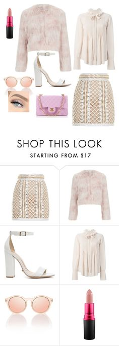 """Chanel Oberlin - Scream Queens ♡"" by amy1907murray ❤ liked on Polyvore featuring Balmain, RED Valentino, Schutz, Chloé, MAC Cosmetics and Chanel"