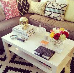 Coffee Table style idea. Also love the rug and pillows
