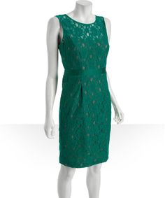 BCBGMAXAZRIAultra green stretch cotton lace 'Alice' shift dress | BLUEFLY up to 70% off designer brands