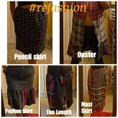 Tea Length Skirt, Maxi Shirts, Patchwork Patterns, Plaid Skirts, Lounge Pants, Leather Leggings, Dusters, Black Tank Tops, Refashion