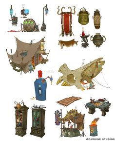 coryloftis:  Since I've been playing Wildstar so much here lately, I thought I'd celebrate with a little concept art dump!!  Some of the many random things I drew during my time at Carbine.  Also I'm sure Andy Cotnam, Mindy Lee, or Johnson Truong probably had a hand in the concepting of more than a few of these.  What a super talented team I had!    STAHP. CORY. STAHHHPP.  (just kidding never stop)