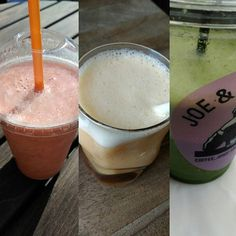 A multi picture of my resent smoothies. Right and left are from #joeandthejuice ,the middle one is from #liliscafe  #smoothie #healthyvegan #cleaneating #veganballerina #veggies #fruits #carbup #gofruityourself #goodfood #vitamins #veganblogger #veganfoodshare #rawvegan #whatveganseat