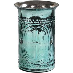 """These glass candle holders are very pretty, with classic designs embossed around the sides and a metal insert that holds small pillar candles. These add a beautiful decorative touch to any room and are a lovely way to add the beauty of candle light to a dining room, living room, bedroom, or bathroom. Blue Mercury Glass Hurricane Candle Holder    hurricane measures about 12"""" tall;  metal insert holds small 3"""" wide pillar candles"""