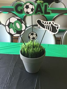 Soccer Themed Birthday-Centerpieces                                                                                                                                                      More Soccer Decor, Soccer Birthday Parties, Football Birthday, Sports Birthday, Sports Party, 11th Birthday, Sports Banquet Centerpieces, Birthday Centerpieces, Soccer Sports