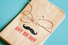 Boy Oh Boy Mustache - Brown Bag Favor Bags -  Baby Shower Boy. $0.85, via Etsy.