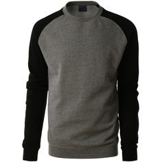 LE3NO PREMIUM Mens Varsity Fleece Raglan Crewneck Sweatshirt ($21) ❤ liked on Polyvore featuring mens and men's clothing