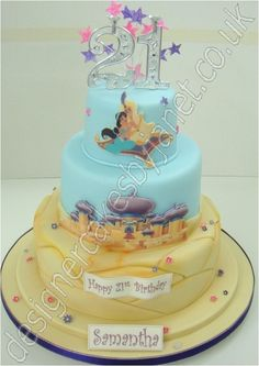 Jasmine & Aladdin Cake ok I needed this cake for my maybe my bday Pretty Cakes, Cute Cakes, Beautiful Cakes, Amazing Cakes, Aladdin Cake, Aladdin Party, Jasmin Party, Jasmine Cake, Character Cakes