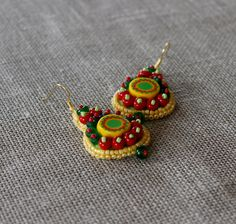 Bead embroidered earrings, Bead embroidery jewelry, Yellow green red earrings, Spring jewelry, Summer earrings by lleja on Etsy https://www.etsy.com/listing/225475480/bead-embroidered-earrings-bead