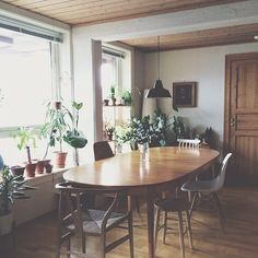 bright windows, plants, mismatched chairs around a big table Kitchen Dinning, Dining Area, Dining Room, Dining Table, Home Interior, Interior Decorating, Decorating Ideas, Ideas Hogar, Up House