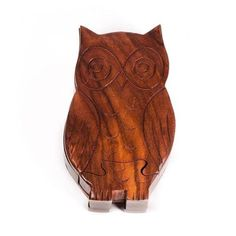 Matr Boomie Owl Wooden Puzzle Box Wooden Puzzle Box, Wooden Puzzles, Hidden Spaces, Owl, Small Storage, Wood Crafts, Hand Carved, Unique Gifts, Artisan